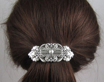 Old World Vintage French Barrette 80mm- Large Barrette- Hair Accessories- Hair Clip- Silver Barrette