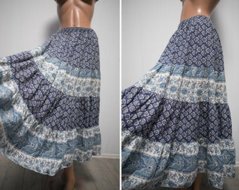 Vintage Provence skirt / white blue  floral folk print tiered full circle  French provence cotton skirt/ M