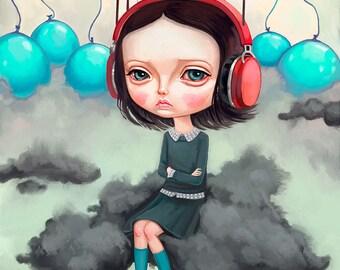 Pop Surrealism Girl Wall Art Print - big eyes girl, lowbrow art, creepy cute painting, 8x10