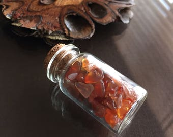 Bottle of Carnelian Crystals, Crystals in a Bottle