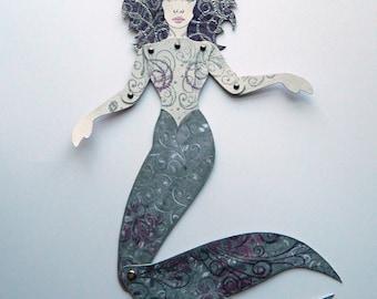 Meerjungfrau Puppe aus Papier / große Meerjungfrau Papierpuppe / Meerjungfrau Papier Gliederpuppe / beweglich Meerjungfrau Puppe / Meerjungfrau Wand-Dekor / Strand Haus Dekor