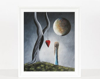 Trust Your Instincts - Surrealism Art - Limited Edition Print - Fantasy Gift Idea - Signed by Artist - Art - Moon- Tree - Landscape