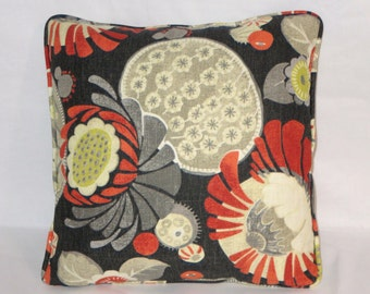 "Black Cactus Flower Throw Pillow Cover, Orange Grey Yellow Waverly Copacabana 17"" Cotton Square Welted Ready Ship"