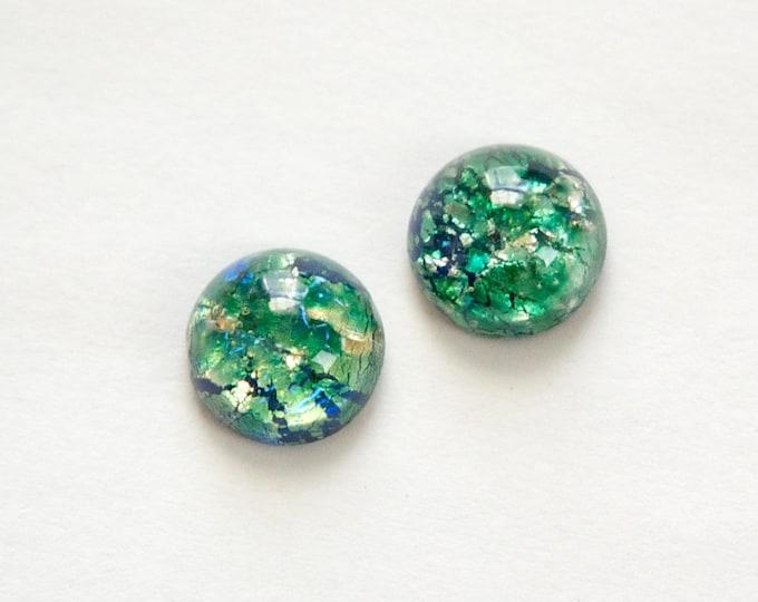 Czech Green Foil Opal Glass Cabochons 9mm (2) cab3004B