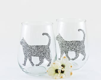 Cat glassware - Cat wine glasses - Cat lover - Black cat - Hand painted stemless wine glasses - Set of 2