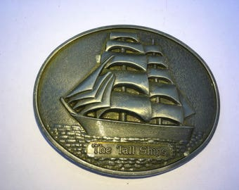 Vintage The Tall Ships Metal Oval Belt Buckle--Nautical Collectible--Great Texture--Hippie Boho Chic--Gift for Him--Masculine Gift Idea