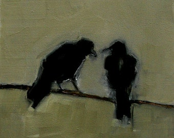 TWO CROWS BIRD  Abstract Art Giclee print from my original oil painting