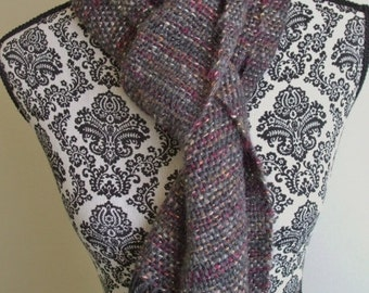 Hand Woven Scarf in Gray, Red & Gold