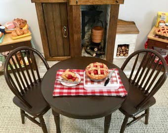 Cherry Pie fresh from the Clay Oven for 1:12 Scale Dollhouse or Barbie   Price for one pie with tray and a slice of pie
