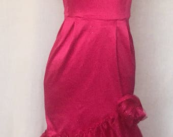 80's style Hot Pink Prom Dress
