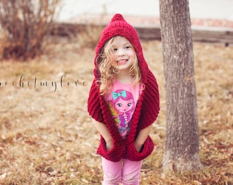 Hooded scarf knitting pattern, scarf with pockets pattern, knitting patterns, adult patterns, children patterns