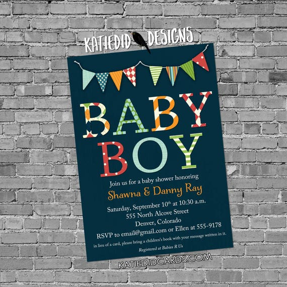 rustic baby boy shower invitation b is for baby invite bunting banner diaper wipe brunch twins co-ed baby navy blue 1280b Katiedid Designs