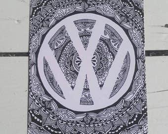 VW Logo Mandala Postcard - Henna Mehndi Art - A6 Art Print - Zentangle - Volkswagen