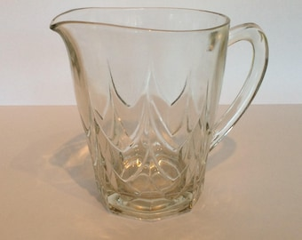 Pressed glass vintage water jug, clear glass vintage juice jug, retro water jug, mid century water jug, clear glass pitcher, juice pitcher