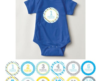 Baby Boy Month Stickers, 1-12, blue, yellow, grey, chevron, stripes, dots