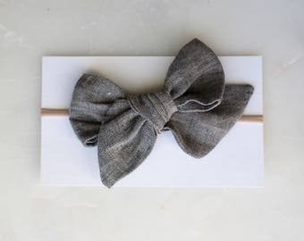 Large Faye Bow// Hand Tied Bow in Gray/Black