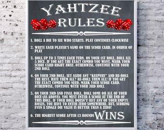 Yahtzee, Yahtzee Rules, Yahtzee Sign Poster, Outdoor Party Games, BBQ Yard Games, Yard Signs, Wedding Lawn Games, Wedding Games
