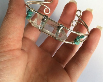 Quartz & Turquoise Cuff - Silver Bangle - Crystal Bracelet