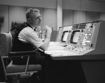 Flight Controller Gene Kranz in Mission Control During Gemini 4 Simulation - 5X7, 8X10 or 11X14 NASA Photo (AA-407)