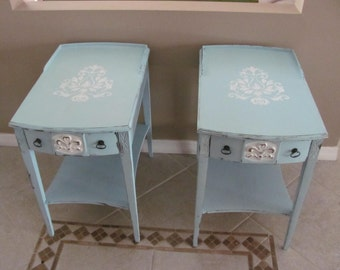 Robin's Egg Blue Shabby Chic Cottage Chic Set Of Two Side Tables End Tables LOCAL PICKUP