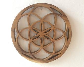 Teak wood seed of life hand carved yoga meditation mandala harmonizer healing