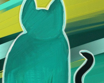 Green Cat Art Notecards (set of 6 folded cards with envelopes in a clear box) - faceless green cat art print