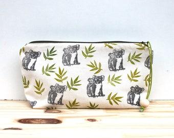 Little Koalas clutch bag, large pencil case, clutch, block printing, handmade