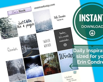 Daily Inspiration Stickers, Winter December Themed (printable)