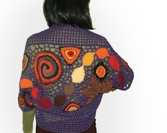Crochet Shrug Bolero with multicolour motifs Womens OOAK freeform Crochet Shrug