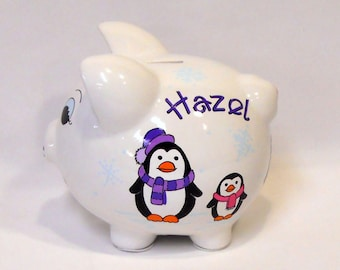 Piggy Bank With Penguins Personalized
