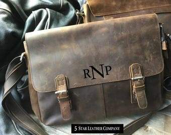 FREE SHIPPING! US only, leather briefcase, personalized leather computer bag, cowhide leather bag, leather ipad case, Distressed leather bag