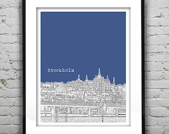 20% OFF Memorial Day Sale - Stockholm Sweden Skyline Poster Art Print Version 3