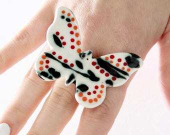 Ceramic Butterfly Ring - big ring, woodland ring, handmade ring by StudioLeanne adjustable ring, ceramic ring, cocktail ring,