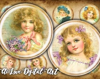 Vintage Girls digital collage sheet circles 1 inch, 1.5 inch, 30mm digital download cabochon shabby chic