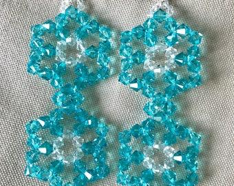 Double flower Swarovski earrings
