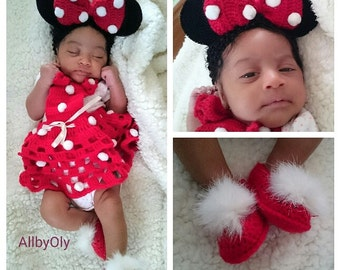 Red Mini Mouse croshet outfit for newborn baby , newborn girl photo prep,newborn outfit, baby shower gift, baby shower gift, Newborn clothes