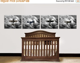 FLASH SALE til MIDNIGHT Set of Four Canvases Vintage Wwii Fighter planes  Ready to Hang, Nursery Decor, Vintage Airplanes, Baby room ideas,