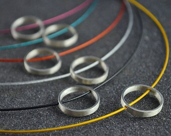 Brushed Silver Ring Necklace Orange, Grey, Yellow, Black, Purple or Turquoise 16in Women Girl Child Young Modern Simple Delicat
