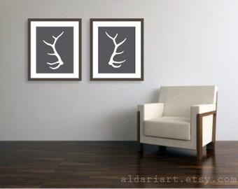 Elk Antlers Set of Two Art Prints - 16x20 - Modern Deer Antlers Wall Art - Large Prints - Charcoal Grey - Woodland Style