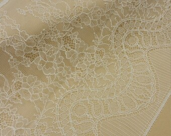 Ivory lace Trimming, French Lace, Chantilly Lace, Bridal lace Wedding Lace White Lace Veil lace Scalloped Floral lace Lingerie L4999