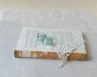 Mint Green Leather Book Earrings