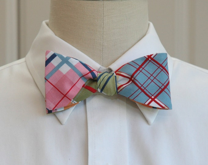 Men's Bow Tie, multi color Madras plaid, pink blue plaid bow tie, red blue madras plaid bow tie, wedding bow tie, groom bow tie summer tie