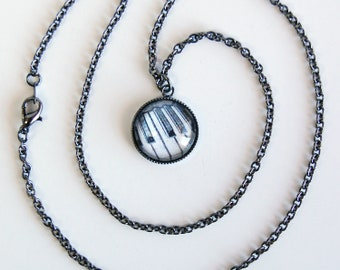 Gunmetal OR Silver Plated Piano Keys Charm Necklace, Keyboard Pendant Necklace, Music Cable Chain Necklace, Music Teacher or Student Gift