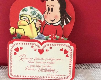 Vintage 1950s Valentine Pop Up Card Little Lulu Watering Flowers With A Sprinkle Can (Marjorie Henderson Buell) Collectible Paper Ephemera