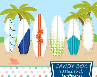 Surfboard Clipart, Summer Beach Vacation Clip Art - Commercial Use OK