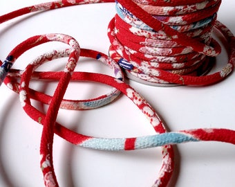 Cord 4mm, Chirimen Japanese, pattern cherry blossom, red (C3001-4)