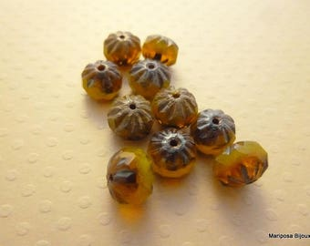 Set of 10 beads crullers Lime Amber 9 x 6 mm - CBCC18 1522
