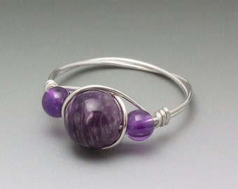 Charoite & Amethyst Sterling Silver Wire Wrapped Bead Ring - Made to Order, Ships Fast!