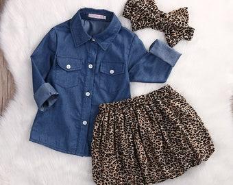 Denim & Leopard Skirt Set