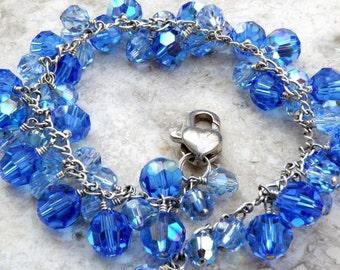 Sapphire Cluster Bracelet, Royal Blue Swarovski Crystal, Sterling Silver, Summer Fall Winter Wedding, September Birthday Birthstone Gift